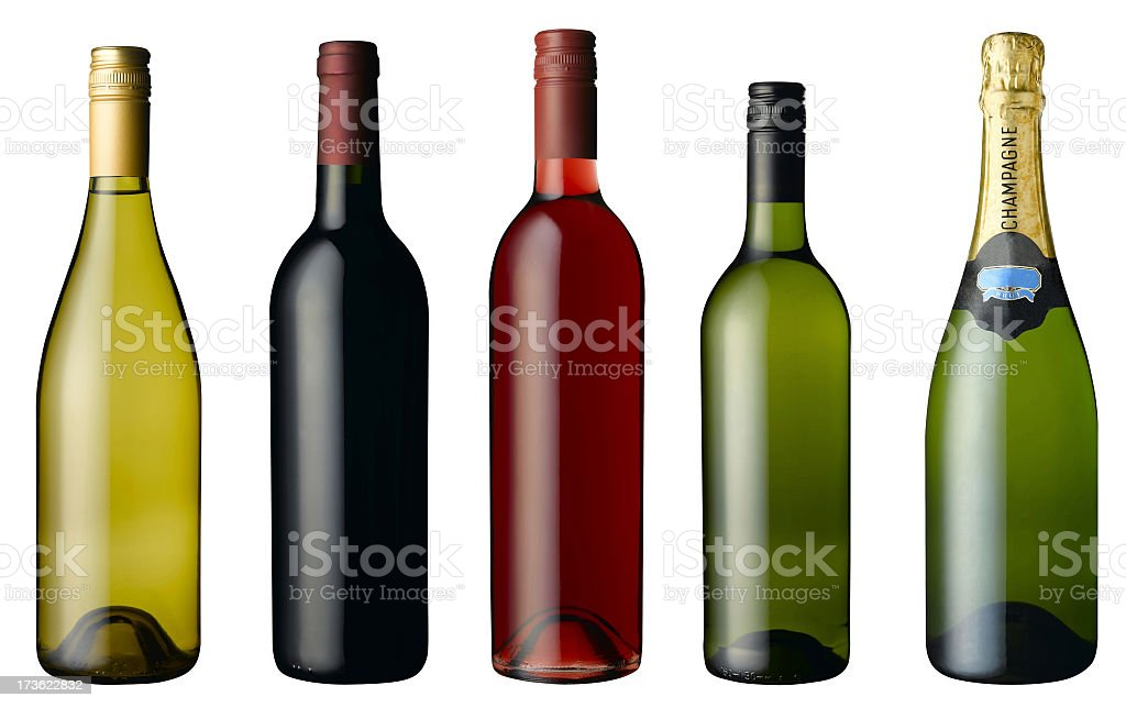 Wine and champagne bottles on a white background stock photo