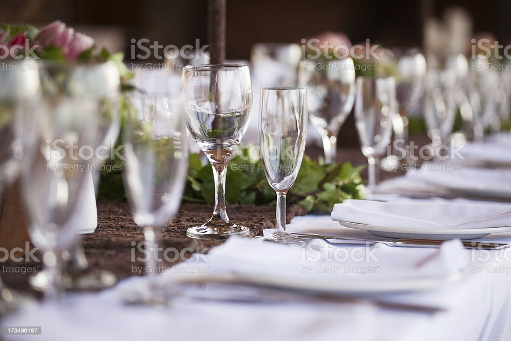 Wine and champagne glasses on table. Selective focus royalty-free stock photo