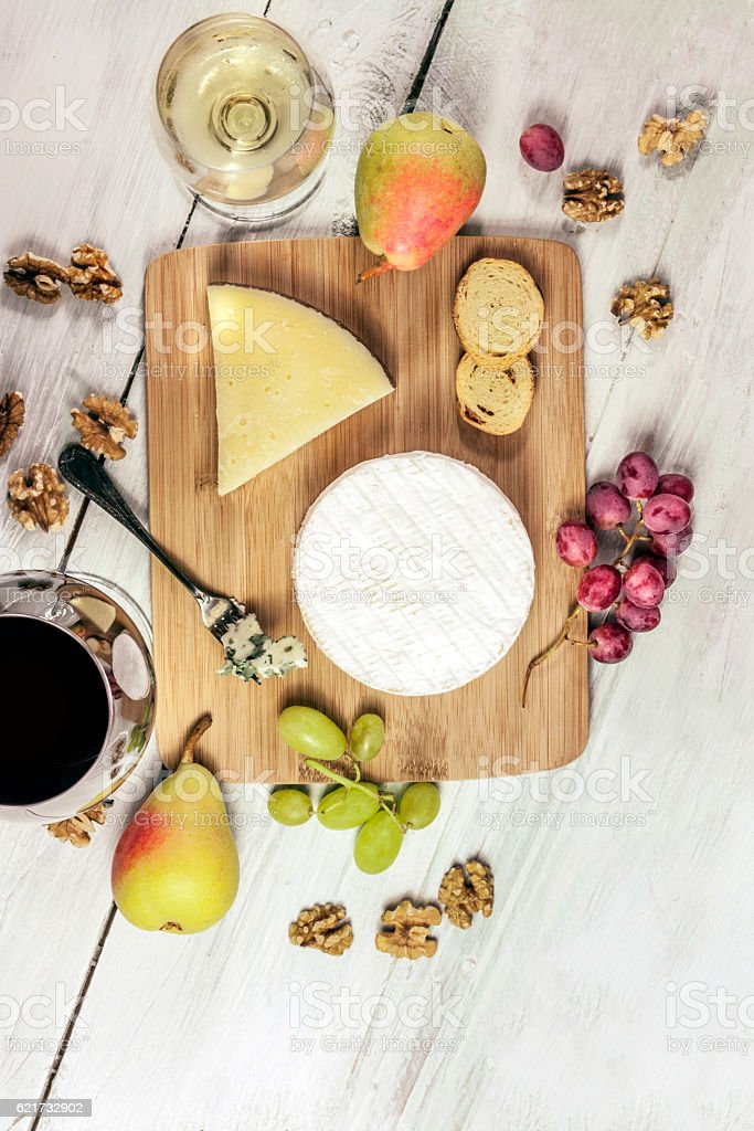 Wine and cheese tasting photo with copyspace stock photo