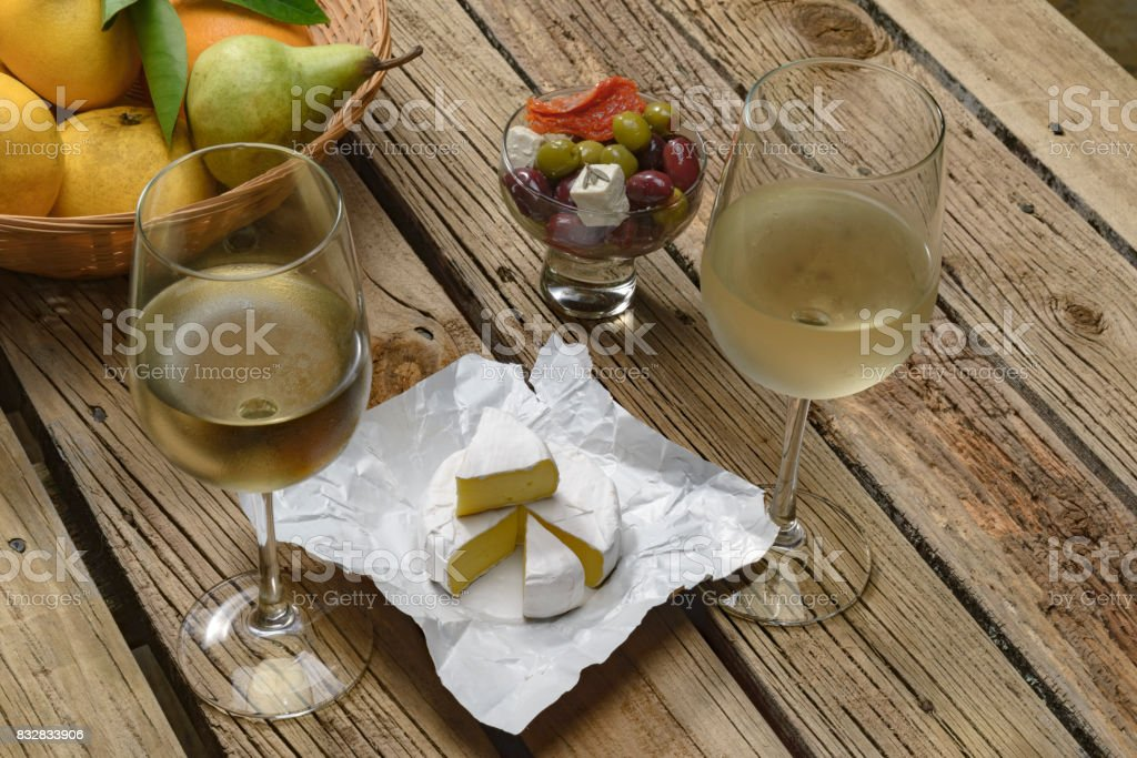 Wine and cheese testing, concept. stock photo