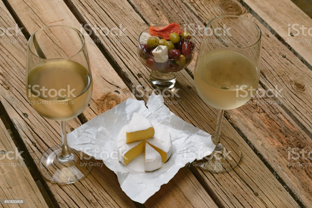 Wine and cheese testing, concept stock photo