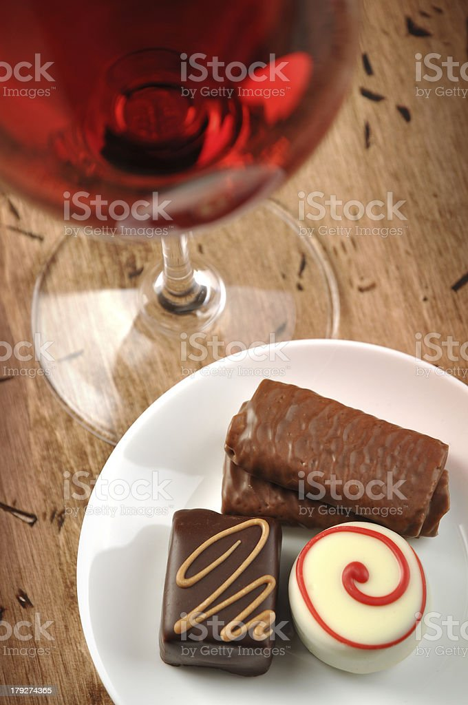 Wine and chocolates royalty-free stock photo