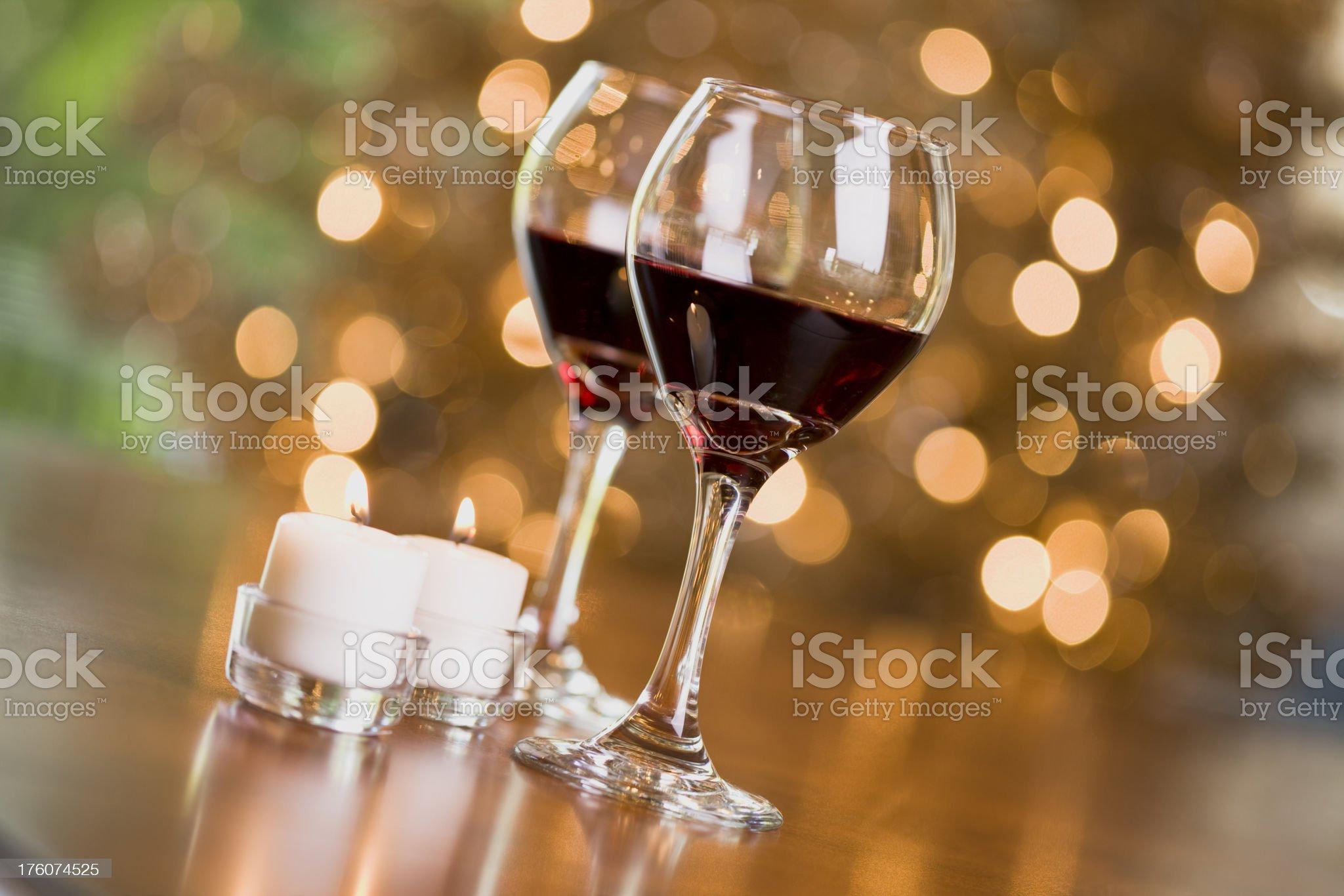 Wine and Christmas Lights royalty-free stock photo