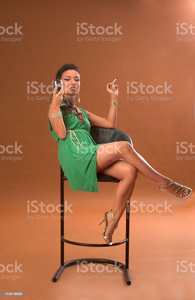 Wine and cigarette royalty-free stock photo