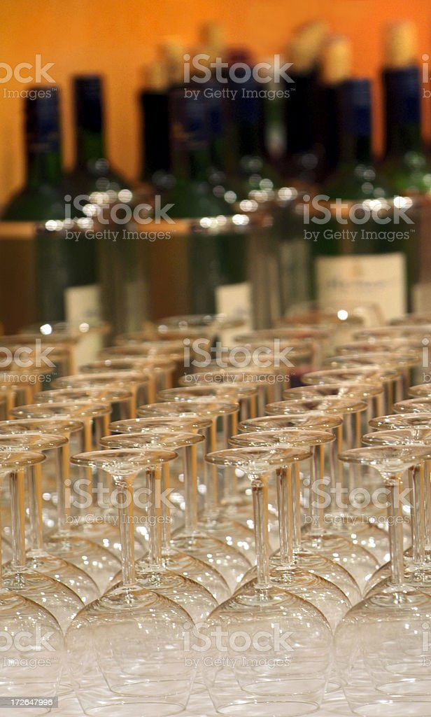 Wine and glasses stock photo