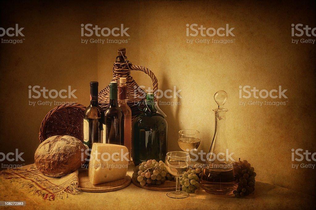 wine and grape still life - vintage photo royalty-free stock photo