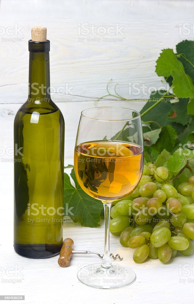 wine and grapes stock photo