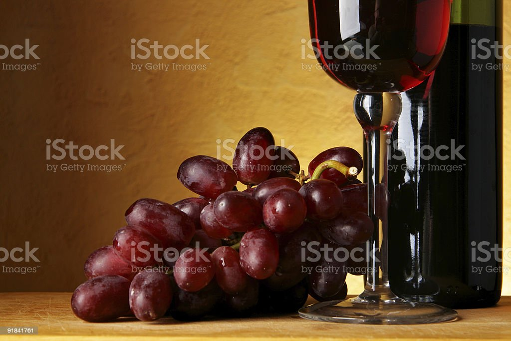 Wine and grapes royalty-free stock photo