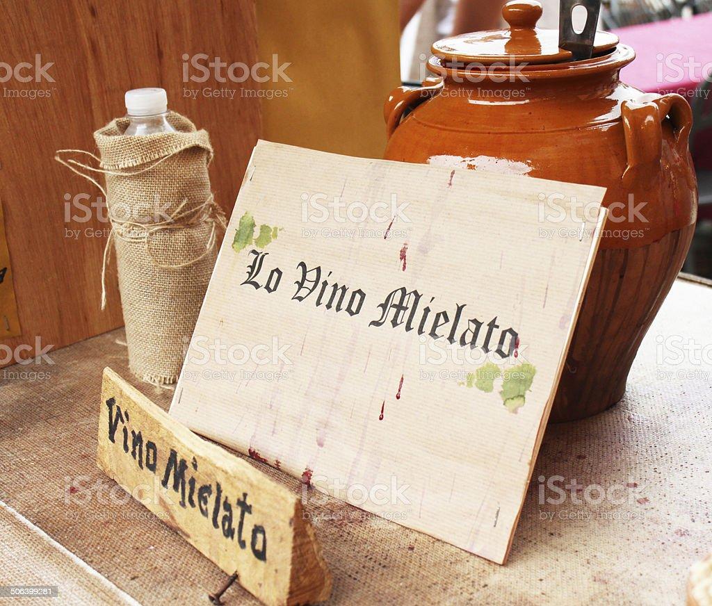 Wine and honey royalty-free stock photo