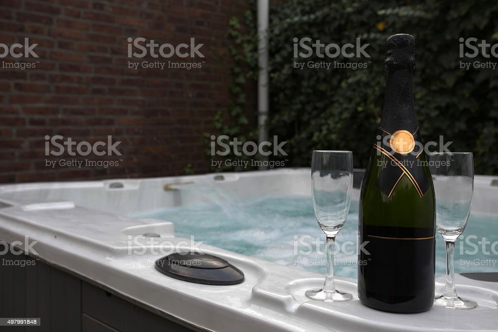 wine and jacuzzi stock photo