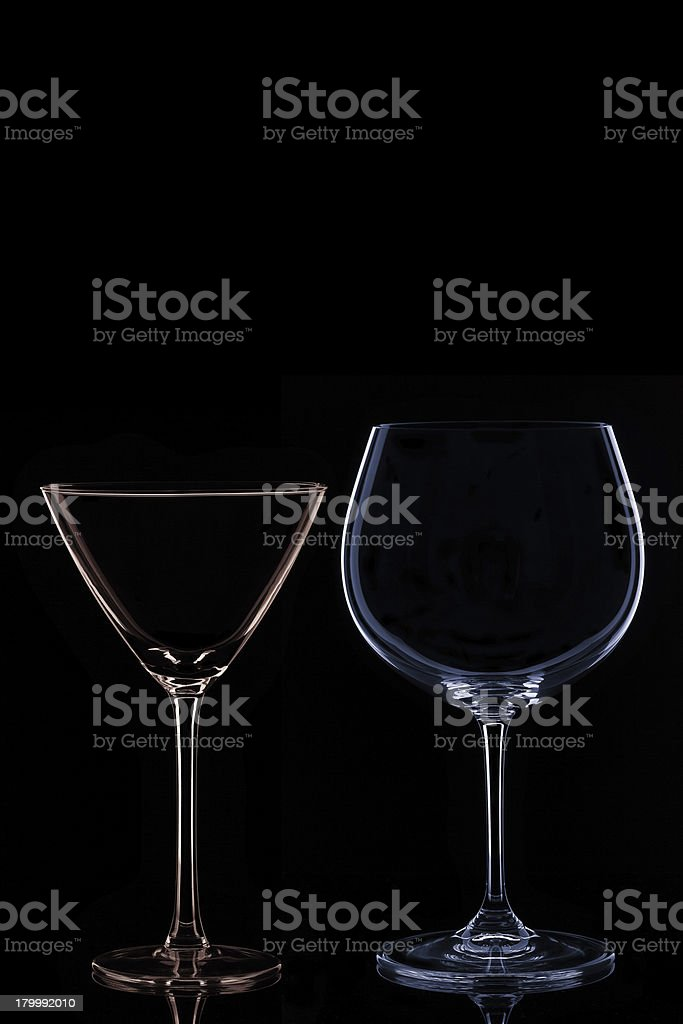 Wine and Martini Glass royalty-free stock photo