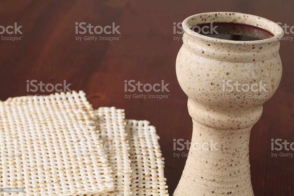 Wine and matzo royalty-free stock photo