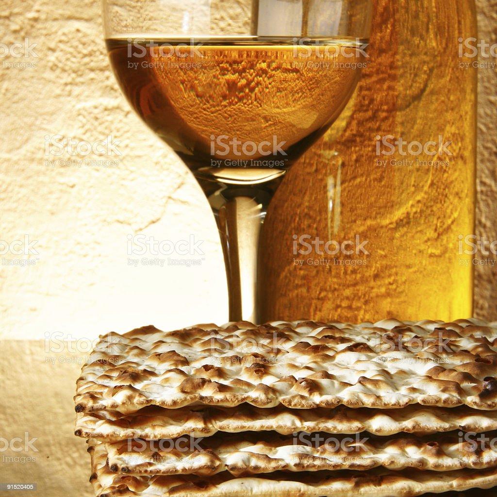 Wine and matzoh stock photo