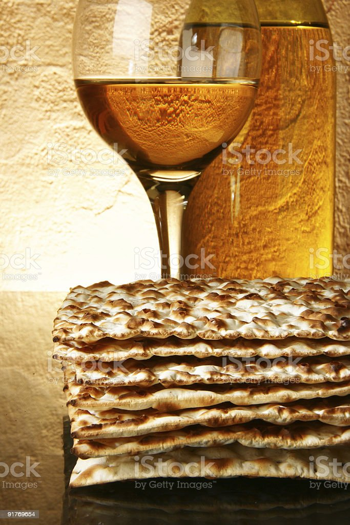 Wine and matzoh royalty-free stock photo