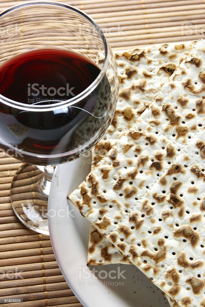Wine and matzoh royalty-free stock photo