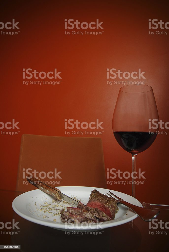 Wine and Meat royalty-free stock photo