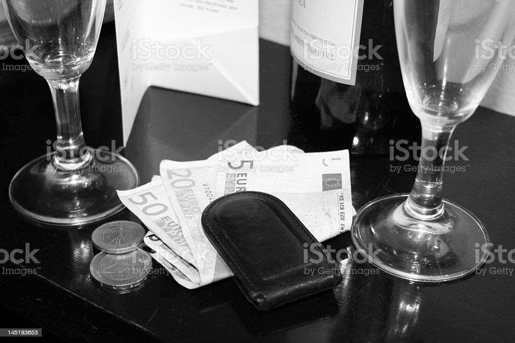 Wine and money stock photo