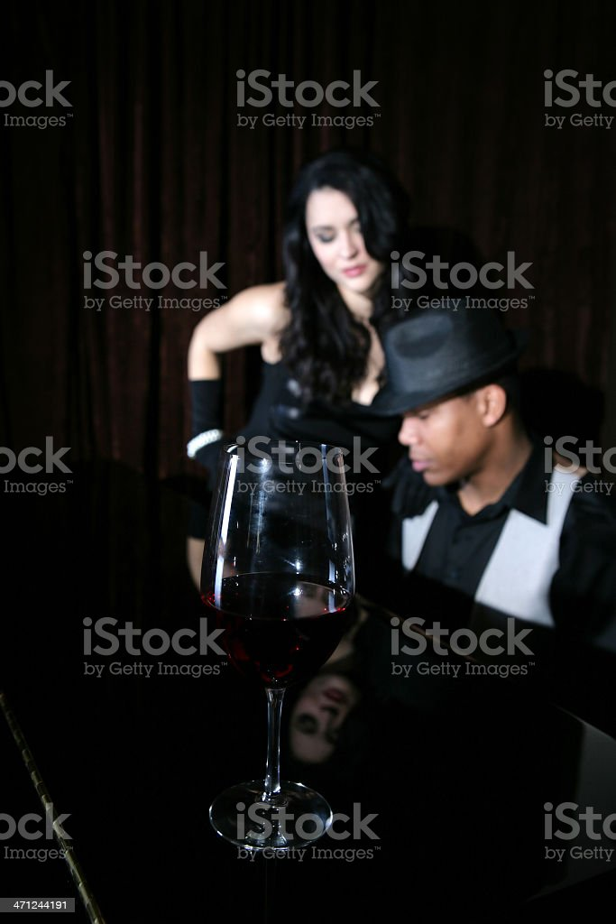 Wine and Musicians stock photo