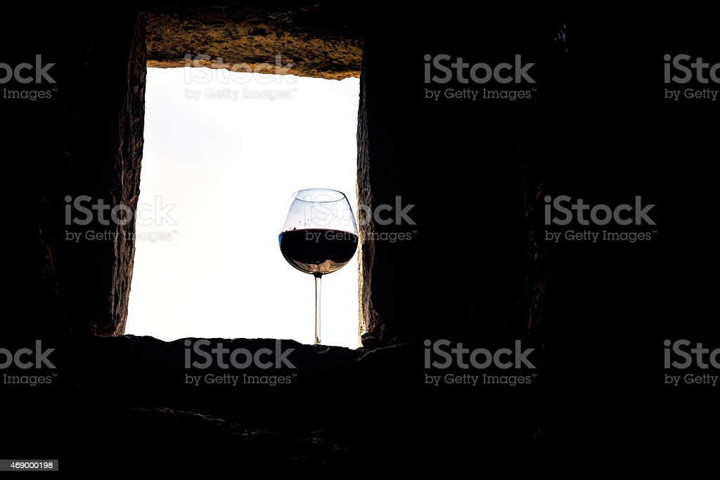 wine and old wall stock photo