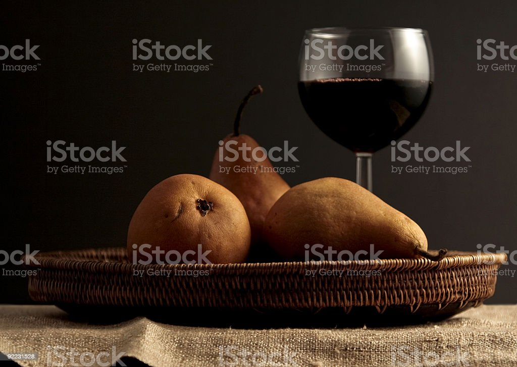 Wine and pears royalty-free stock photo