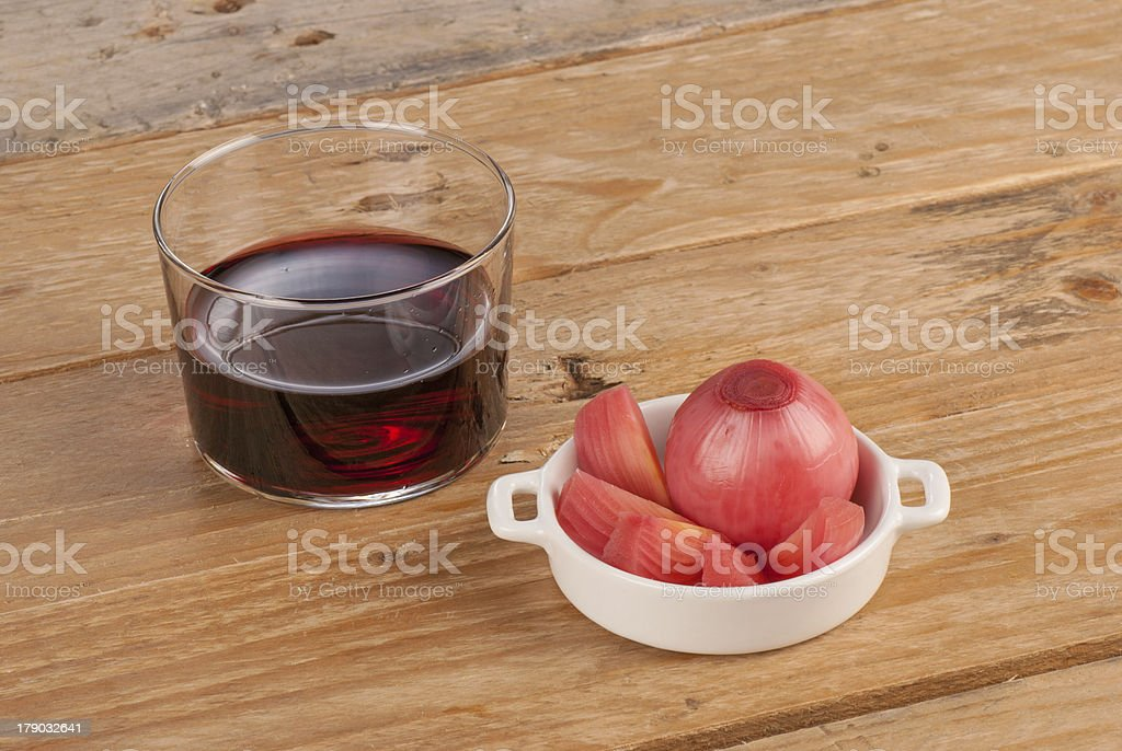 Wine and pickled onions royalty-free stock photo