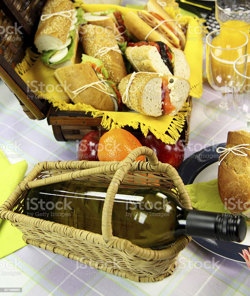 Wine And Picnic Hamper royalty-free stock photo