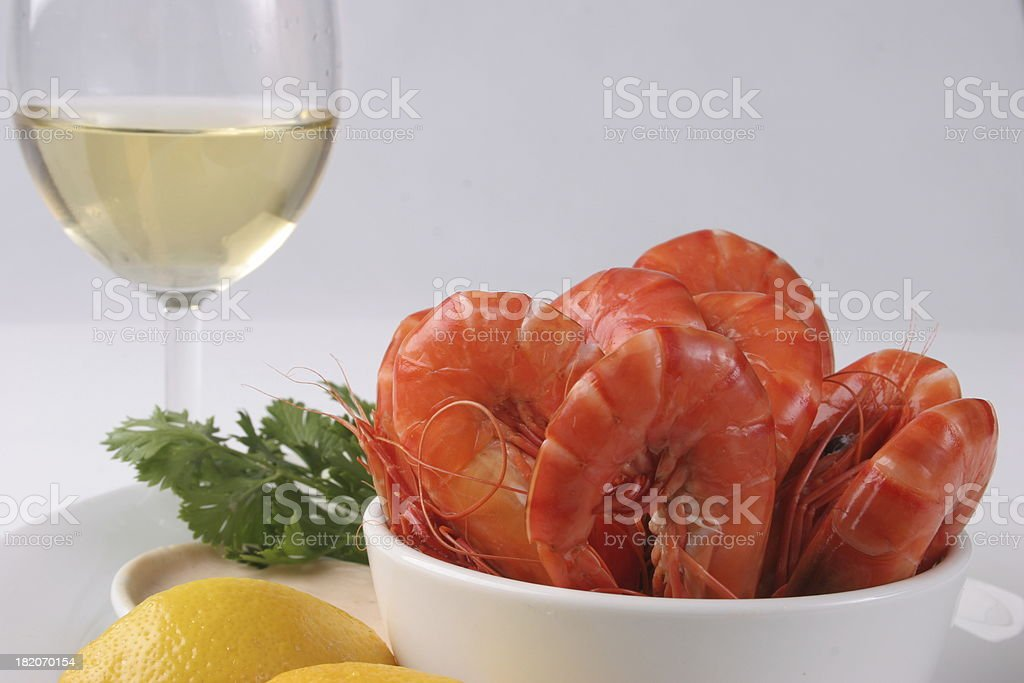 Wine and prawns royalty-free stock photo