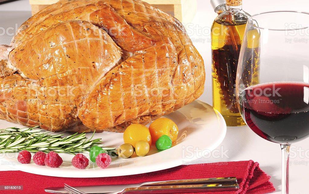 Wine and roast turkey. stock photo