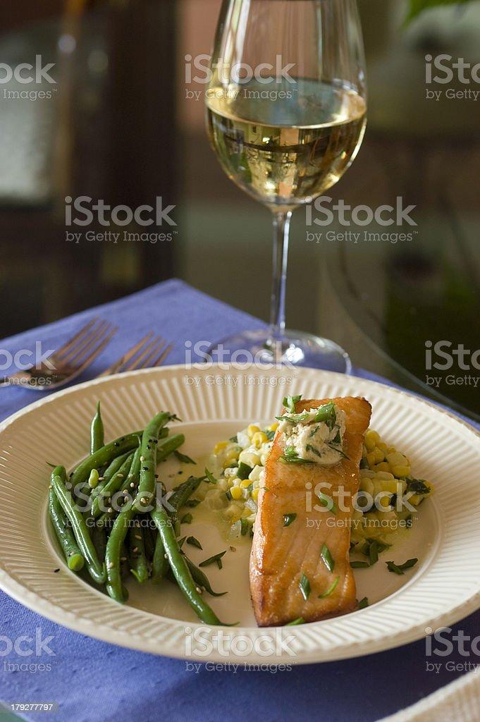 wine and salmon stock photo
