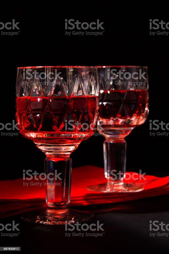 Wine and strawberries stock photo