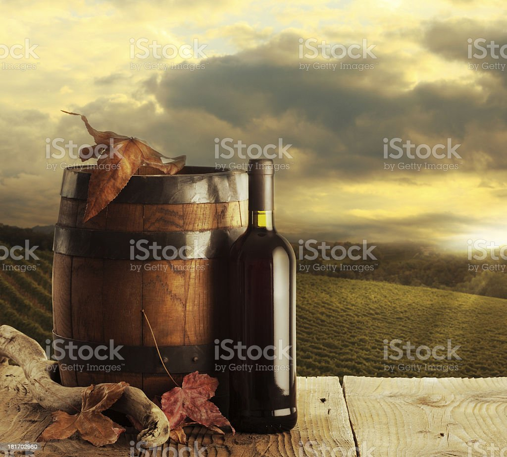 Wine and vineyard royalty-free stock photo