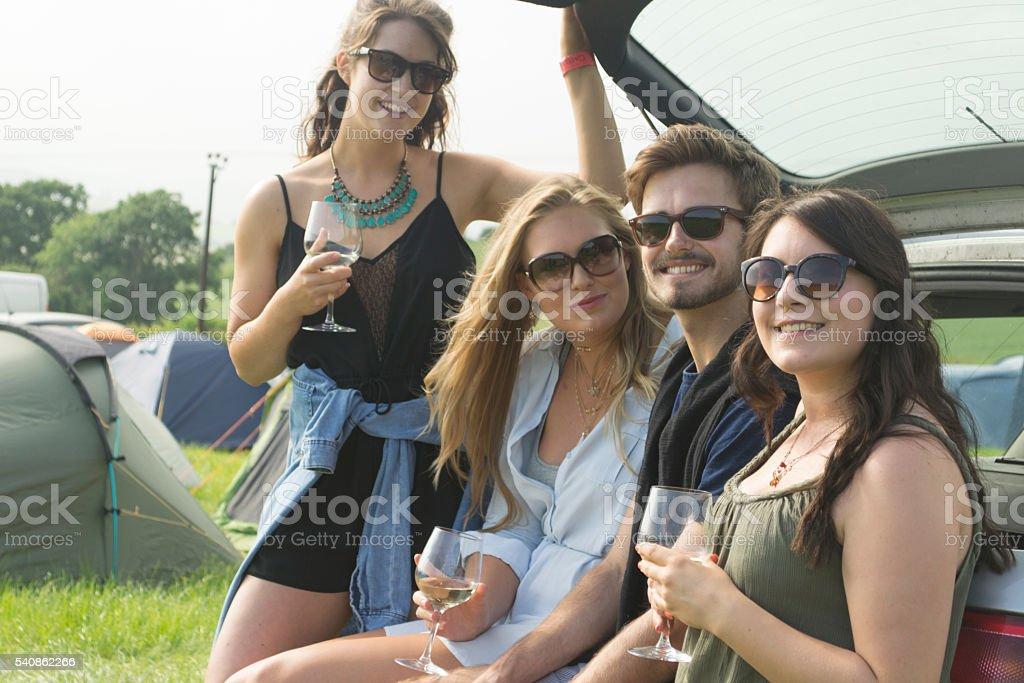 Wine at the campsite stock photo