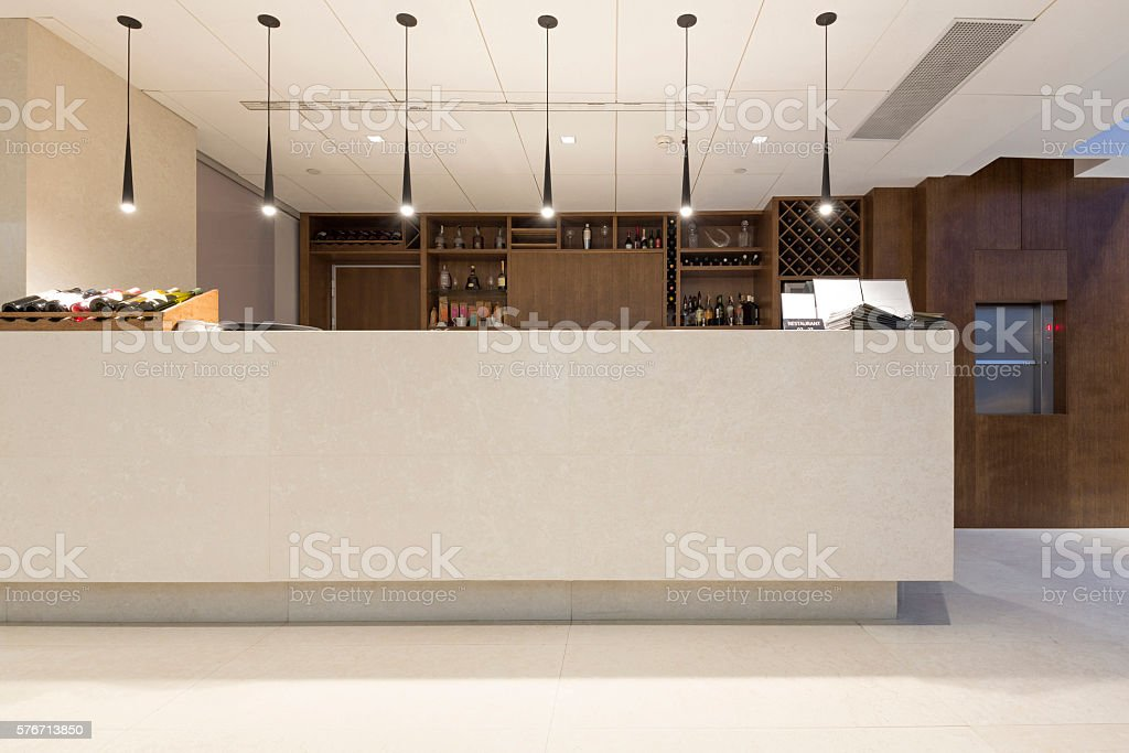 Wine bar in a hotel restaurant stock photo