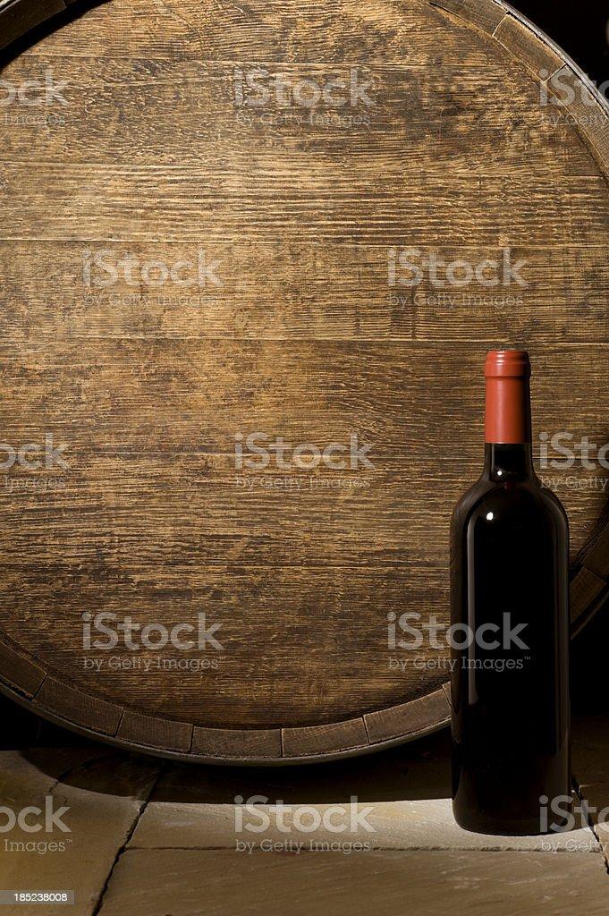 Wine Barrel and Bottle stock photo