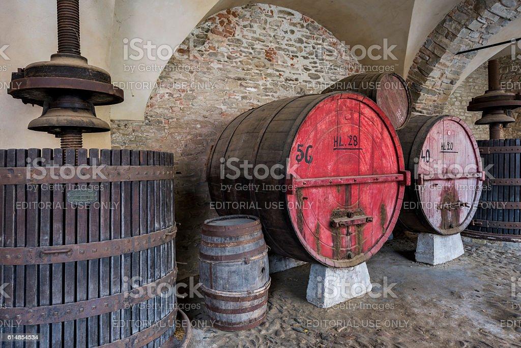 Wine Barrel and Winepress Piedmont stock photo