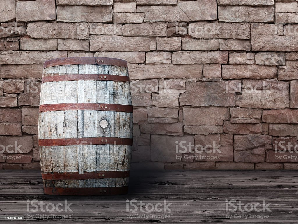 Wine Barrel Brick Wall Abstract Architecture Background Woodgrain Wood Boards stock photo