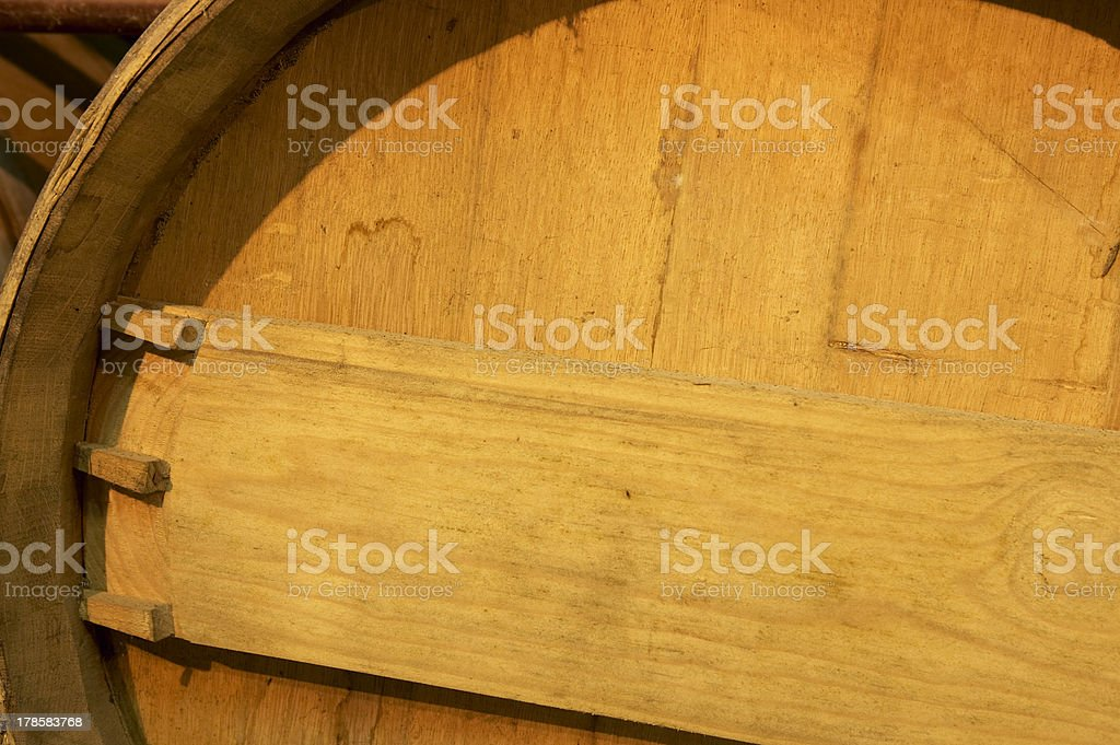 Wine barrel detail in an aging process royalty-free stock photo