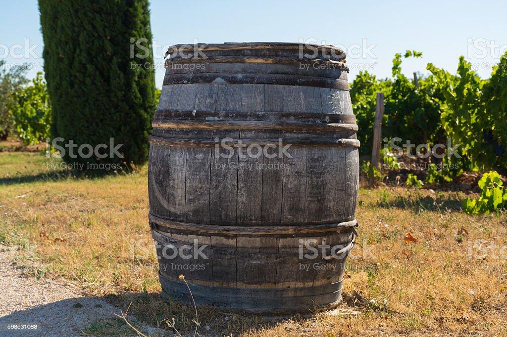 Wine barrel on vineyards in chateau, Chateauneuf-du-Pape, Franc stock photo