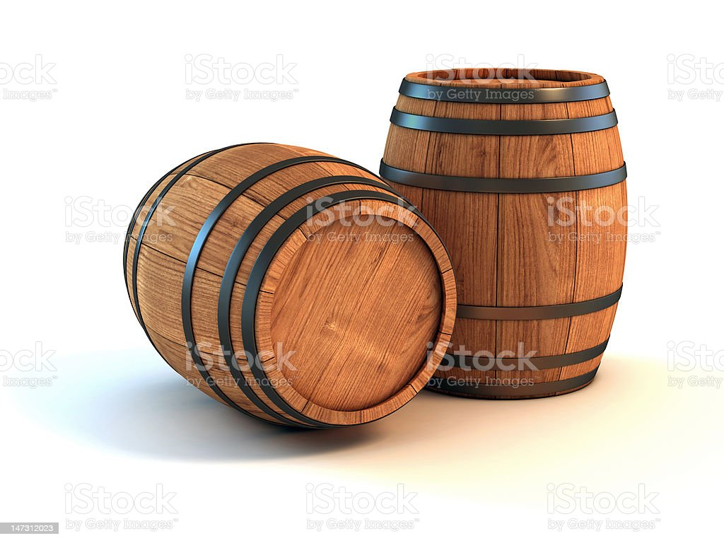 Wine barrel on white background royalty-free stock photo