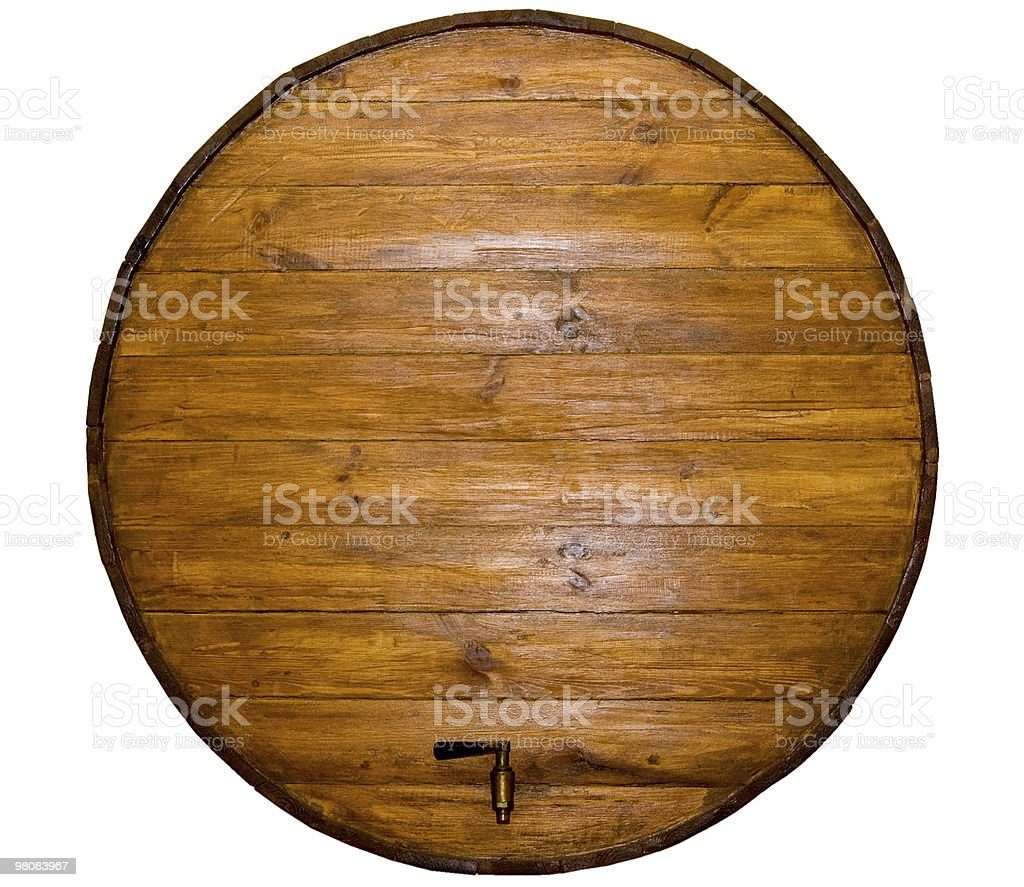 wine barrel with a  stopcock stock photo