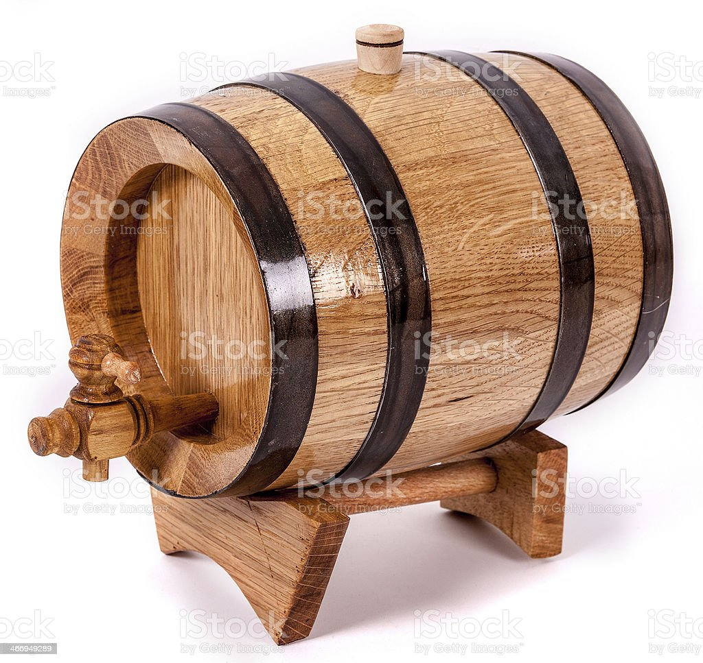 Wine barrel with legs and cork on top royalty-free stock photo
