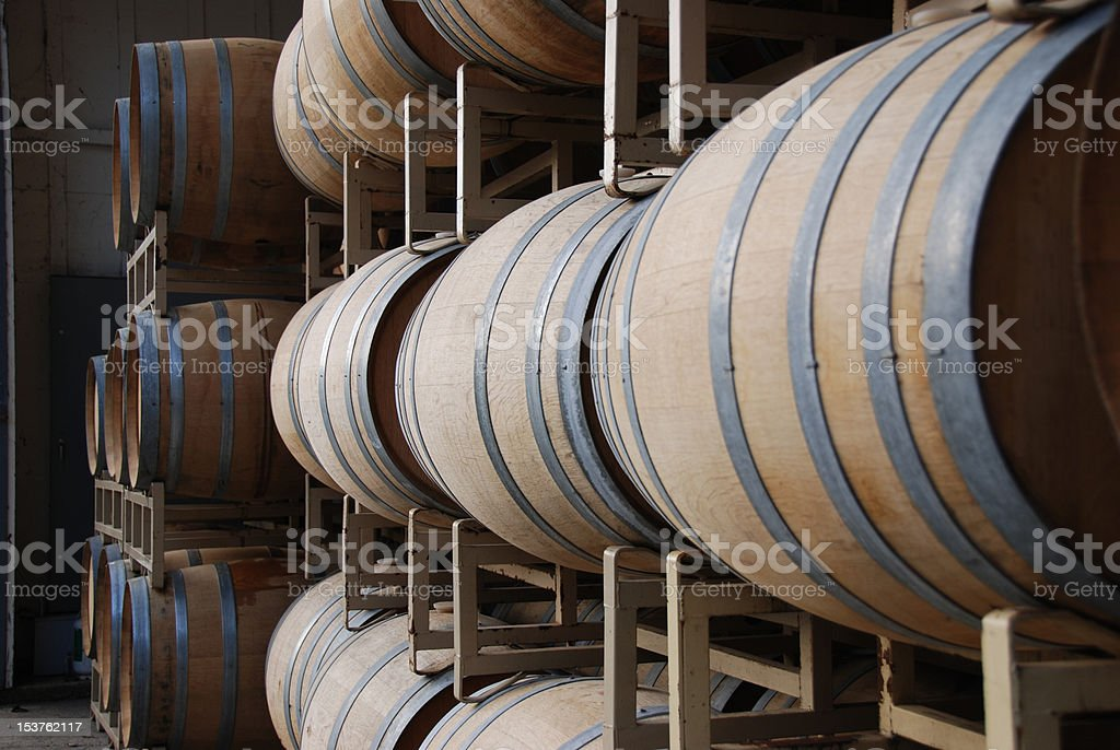 Wine Barrels at Benziger Winery stock photo