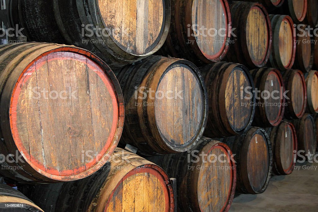 Wine barrels at the winery stock photo