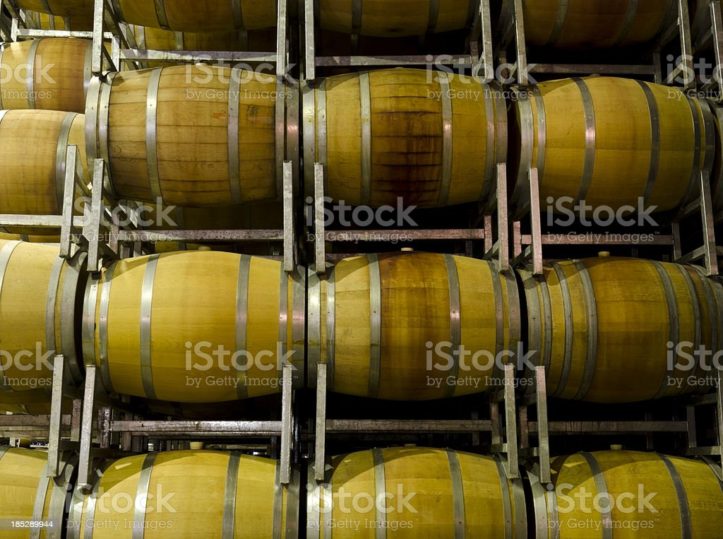 Wine barrels in a cellar royalty-free stock photo