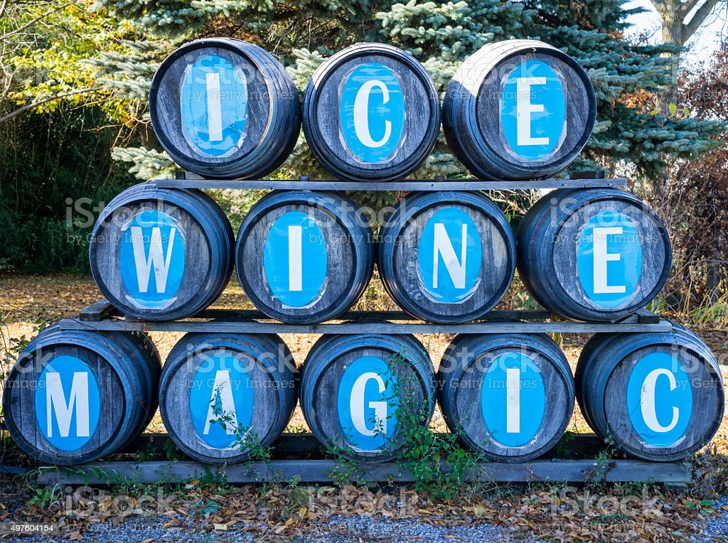 Wine Barrels in an Ice Wine Winery stock photo