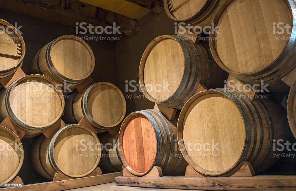 Wine barrels in Cellar of Syrah, Elqui Valley, Chile stock photo