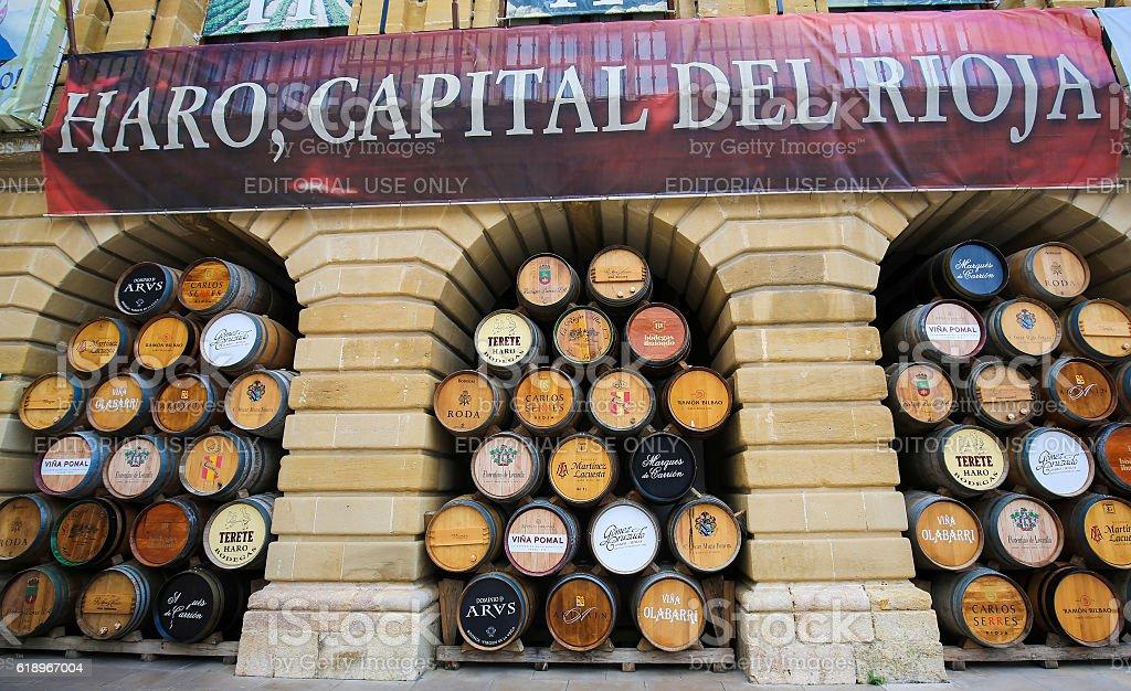 Wine barrels in Haro, La Rioja, Spain stock photo