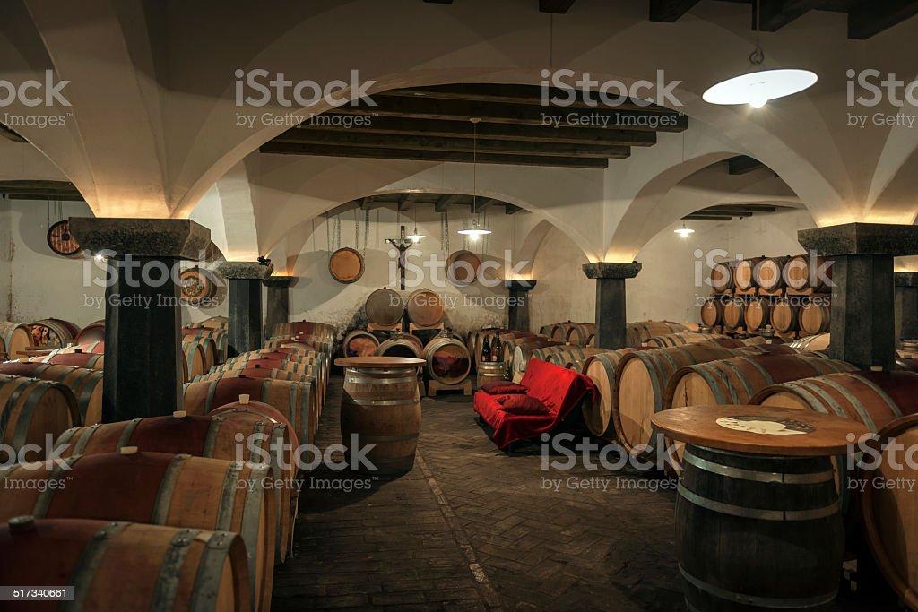 Wine Barrels in Old Cellar, Europe stock photo