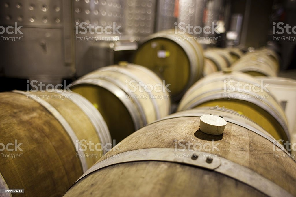 Wine barrels in rows royalty-free stock photo