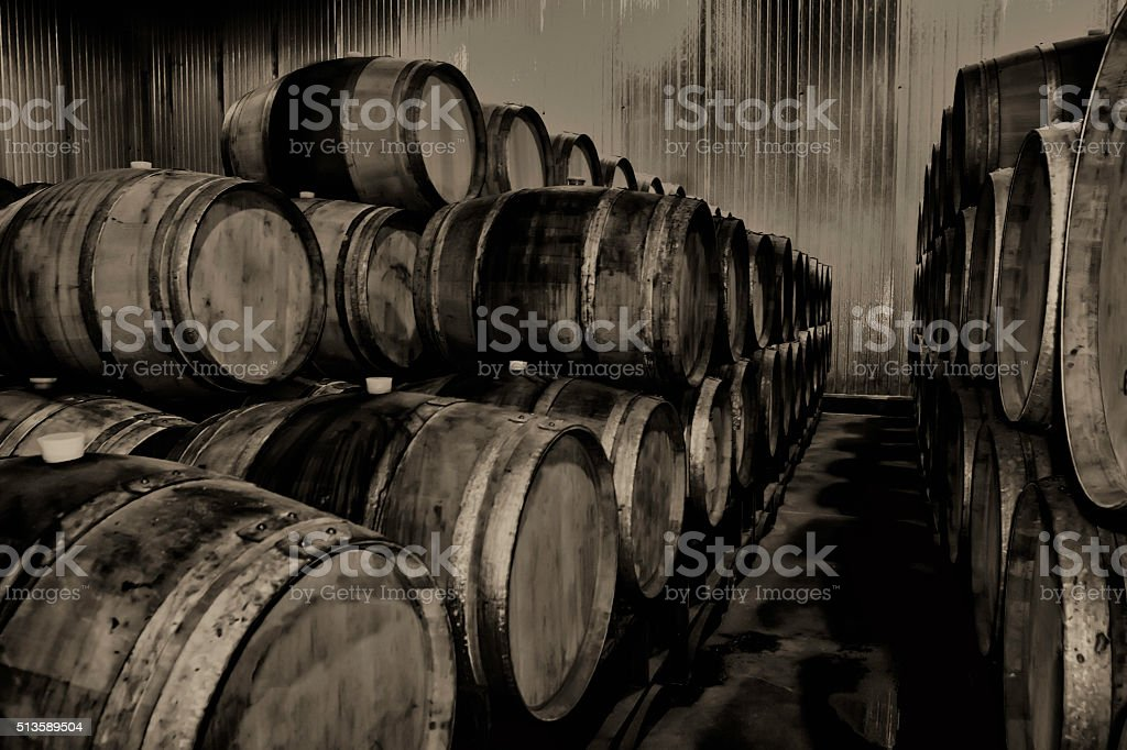 Wine barrels in sepia toner stock photo